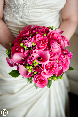 Hot pink and green bridal bouquet