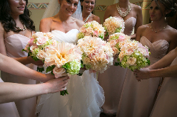 Champagne and blush pink bouquets